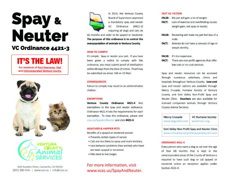 Spay & Neuter Brochure ENGLISH